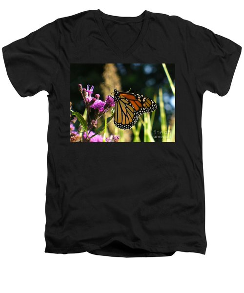 Men's V-Neck T-Shirt featuring the photograph Monarch Butterfly by Lingfai Leung