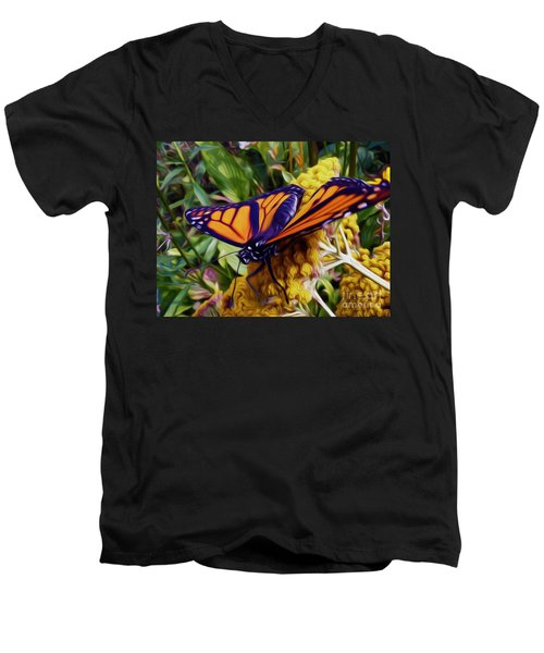 Monarch On Yarrow Men's V-Neck T-Shirt
