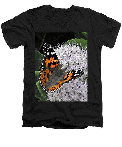 Men's V-Neck T-Shirt featuring the photograph Monarch by Photographic Arts And Design Studio