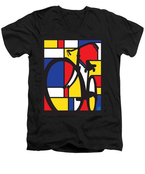 Mondrian Bike Men's V-Neck T-Shirt by Sassan Filsoof