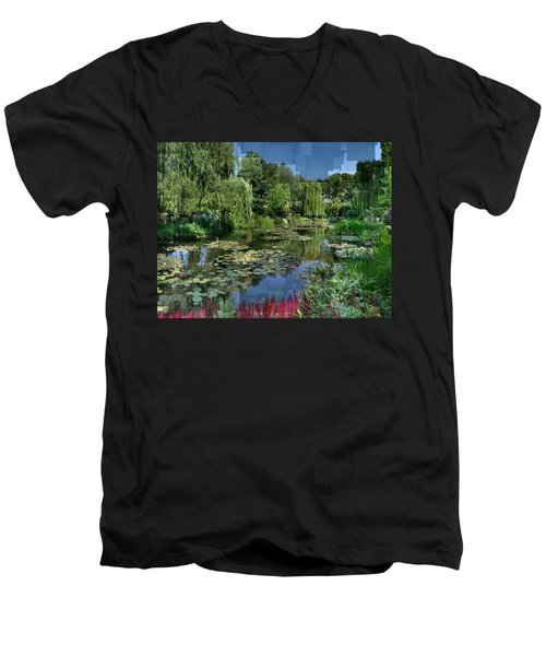 Monet's Lily Pond At Giverny Men's V-Neck T-Shirt
