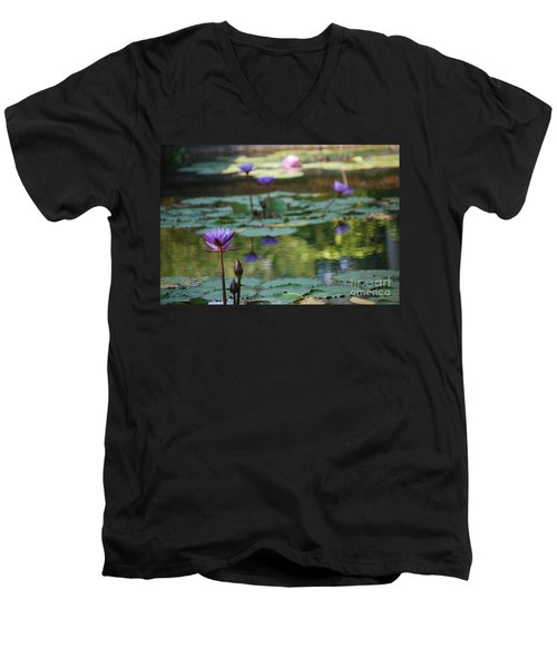 Monet's Waterlily Pond Number Two Men's V-Neck T-Shirt by Heather Kirk