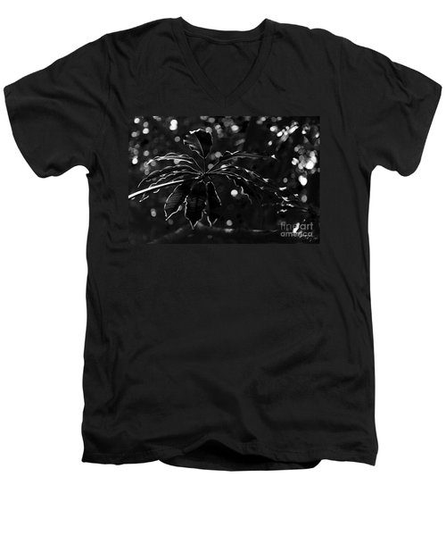 Monochrome Leaf  Men's V-Neck T-Shirt