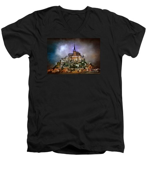 Mont Saint Michel   Men's V-Neck T-Shirt by Andrzej Szczerski