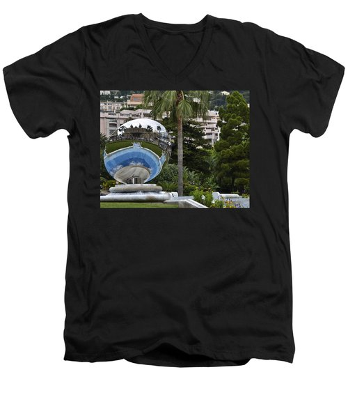 Men's V-Neck T-Shirt featuring the photograph Monte Carlo Casino In Reflection by Allen Sheffield
