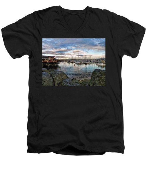 Monterey Marina California Men's V-Neck T-Shirt by Kathy Churchman