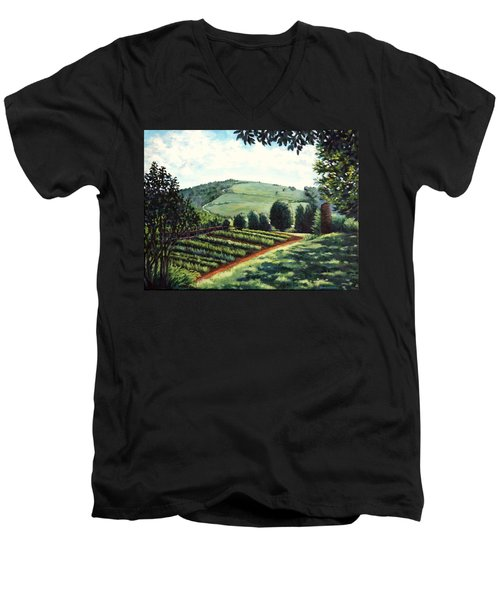 Men's V-Neck T-Shirt featuring the painting Monticello Vegetable Garden by Penny Birch-Williams