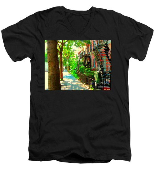 Montreal Art Colorful Winding Staircase Scenes Tree Lined Streets Of Verdun Art By Carole Spandau Men's V-Neck T-Shirt