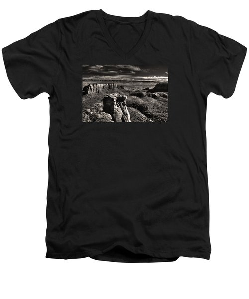 Men's V-Neck T-Shirt featuring the digital art Monument Canyon Monolith by William Fields