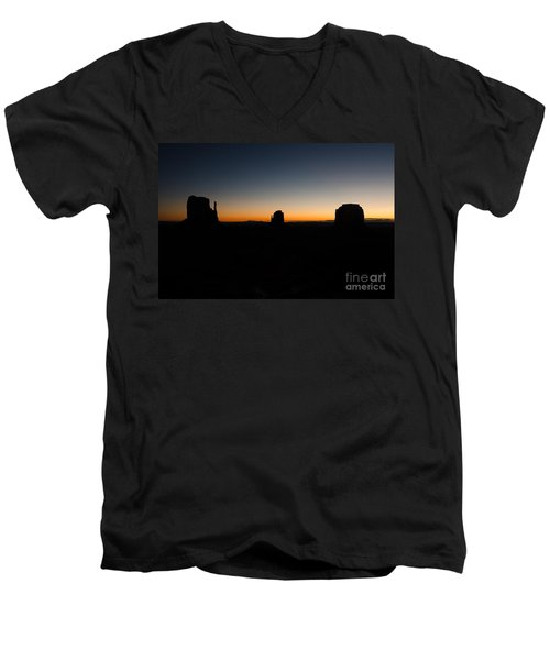 Men's V-Neck T-Shirt featuring the photograph Monument Valley Sunrise by Jeff Kolker