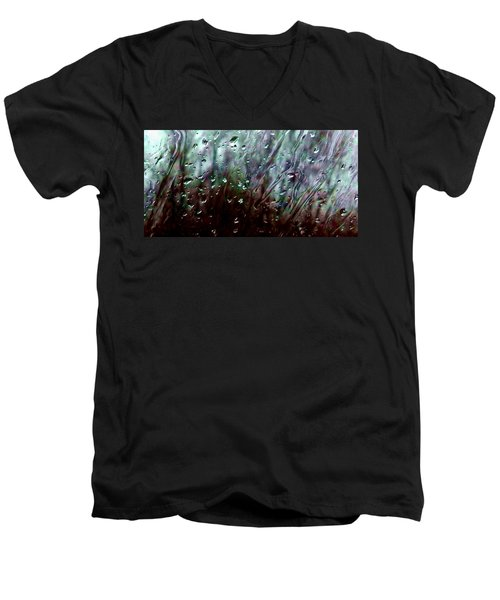 Men's V-Neck T-Shirt featuring the photograph Moody Blues Rain On The Window Series 2 Abstract Photo by Marianne Dow