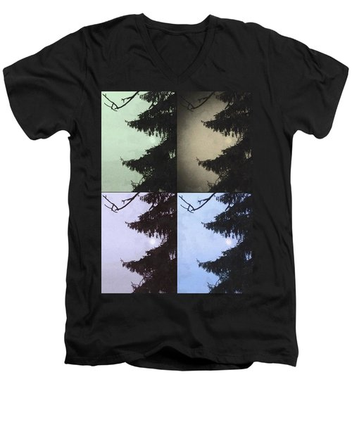 Men's V-Neck T-Shirt featuring the photograph Moon And Tree by Photographic Arts And Design Studio