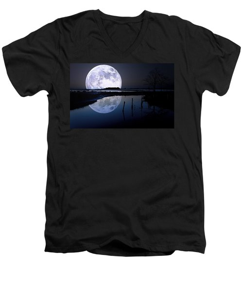 Moon At Night Men's V-Neck T-Shirt by Gianfranco Weiss