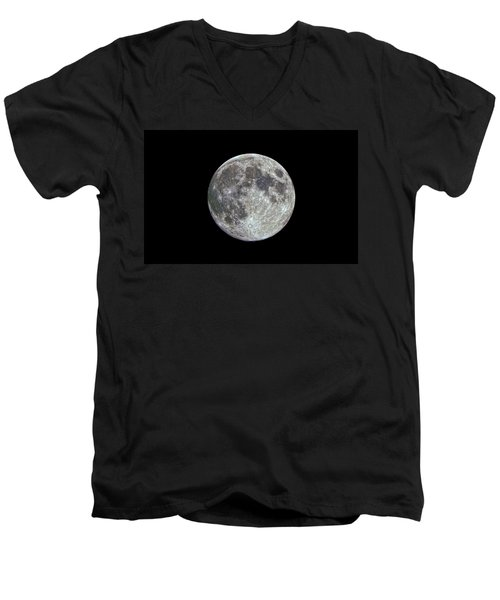 Men's V-Neck T-Shirt featuring the photograph Moon Hdr by Greg Reed