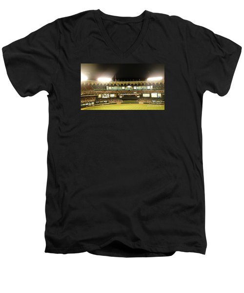Men's V-Neck T-Shirt featuring the photograph Moon In The Arches-edited by Kelly Awad