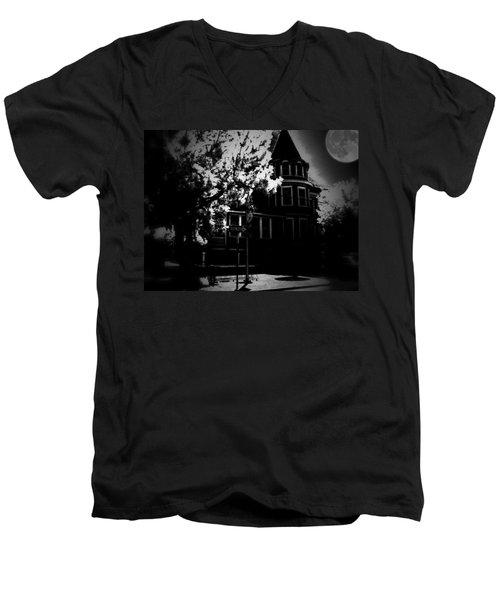 Men's V-Neck T-Shirt featuring the photograph Moon N U by Robert McCubbin