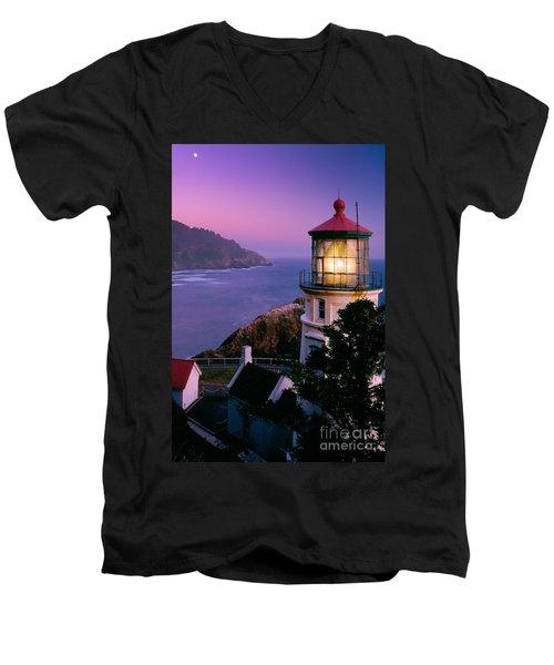 Moon Over Heceta Head Men's V-Neck T-Shirt