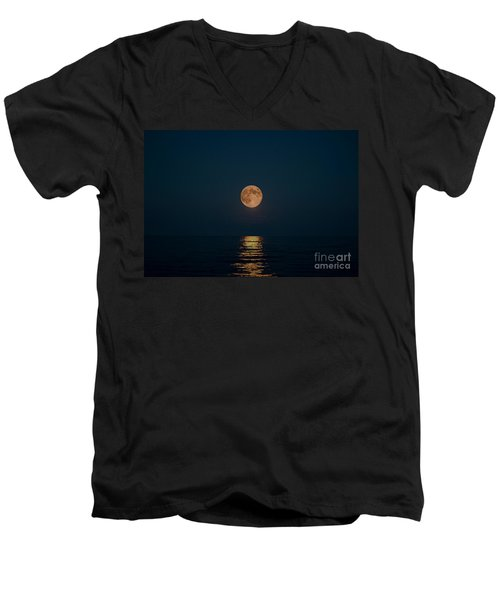 Moon Over Lake Of Shining Waters Men's V-Neck T-Shirt