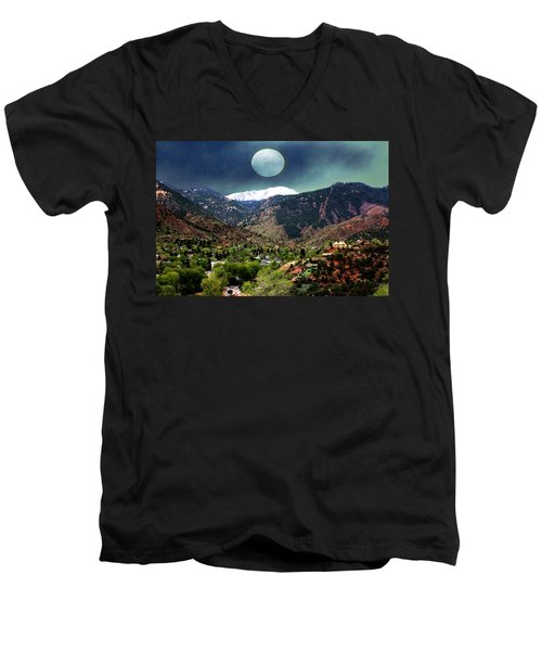 Moon Over Manitou I Men's V-Neck T-Shirt by Lanita Williams