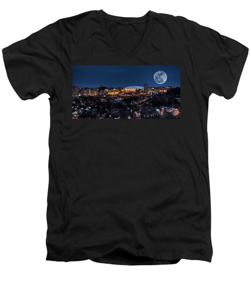 Moon Over The Carrier Dome Men's V-Neck T-Shirt by Everet Regal