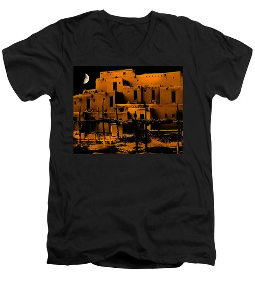 Moon Rise At The Pueblo Men's V-Neck T-Shirt