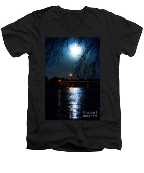 Men's V-Neck T-Shirt featuring the photograph Moon Set Lake Pleasurehouse by Angela DeFrias