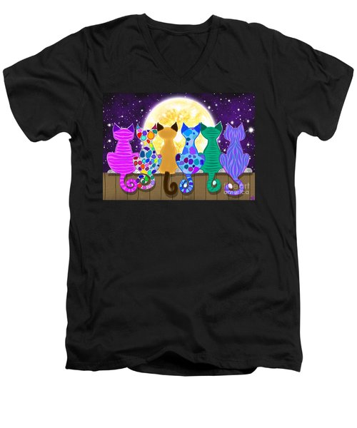 Moon Shadow Meow Men's V-Neck T-Shirt by Nick Gustafson