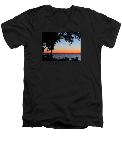 Moon Sliver At Sunset Men's V-Neck T-Shirt