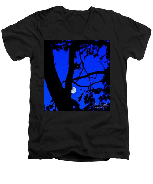 Men's V-Neck T-Shirt featuring the photograph Moon Through Trees 2 by Janette Boyd