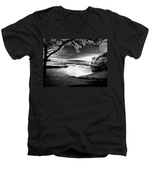 Men's V-Neck T-Shirt featuring the photograph Moona Lagoona by Robert McCubbin