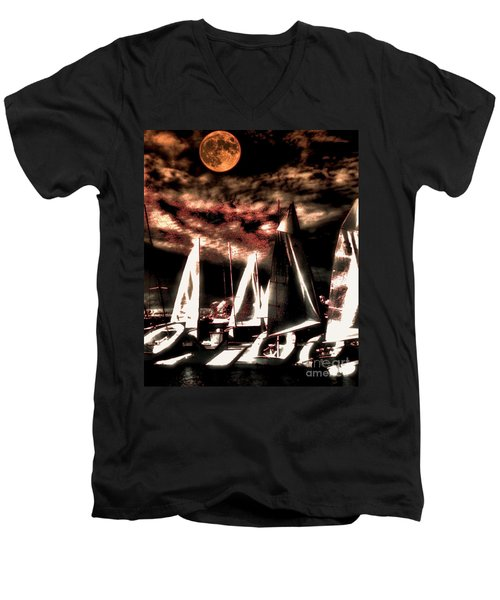 Men's V-Neck T-Shirt featuring the tapestry - textile Moonlight Cruise by Robert McCubbin