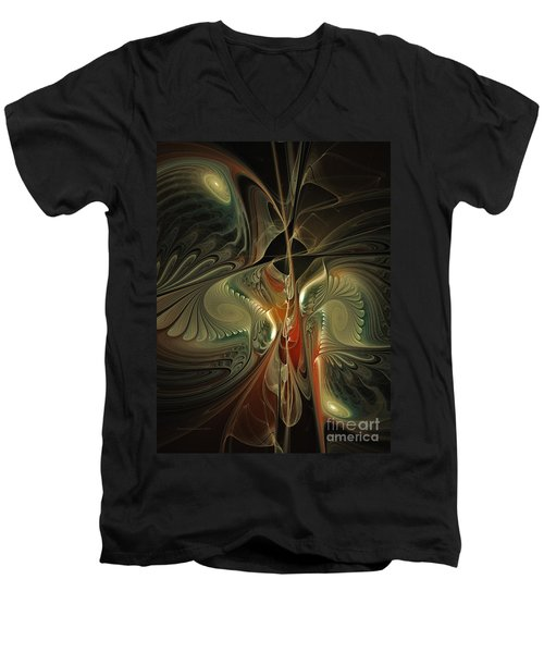 Moonlight Serenade Fractal Art Men's V-Neck T-Shirt