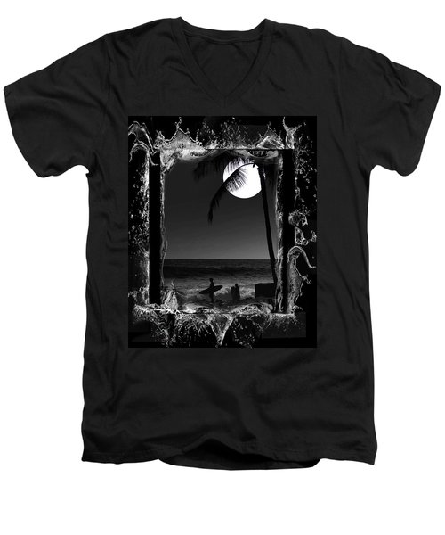 Men's V-Neck T-Shirt featuring the photograph Moonlight Surf by Athala Carole Bruckner