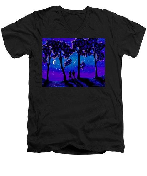 Men's V-Neck T-Shirt featuring the painting Moonlight Walk by Sophia Schmierer