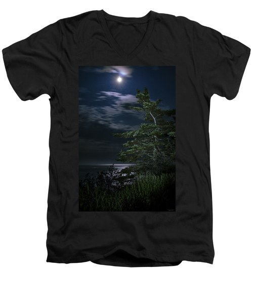 Men's V-Neck T-Shirt featuring the photograph Moonlit Treescape by Marty Saccone