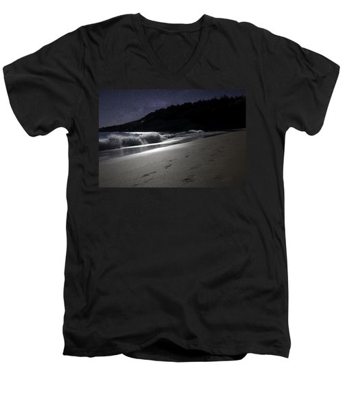 Moonshine Beach Men's V-Neck T-Shirt by Brent L Ander