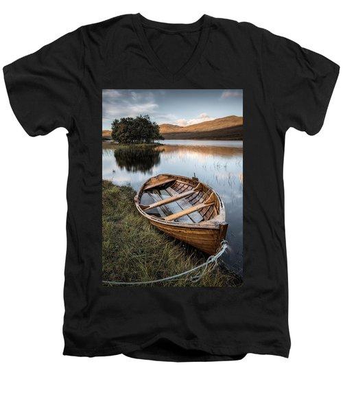 Moored On Loch Awe Men's V-Neck T-Shirt