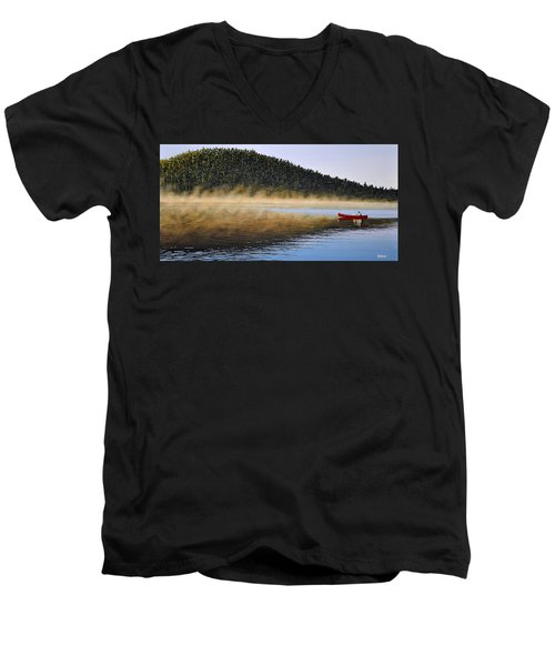 Men's V-Neck T-Shirt featuring the painting Moose Lake Paddle by Kenneth M  Kirsch
