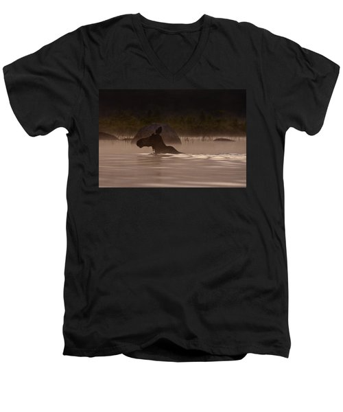 Moose Swim Men's V-Neck T-Shirt by Brent L Ander