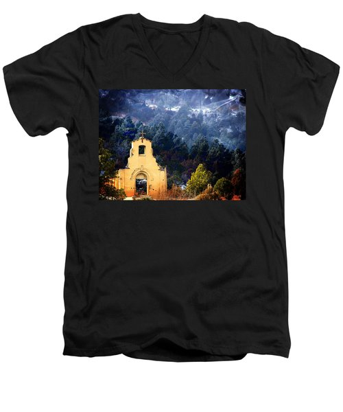 Men's V-Neck T-Shirt featuring the photograph Morley Mission 1917 Colorado by Barbara Chichester