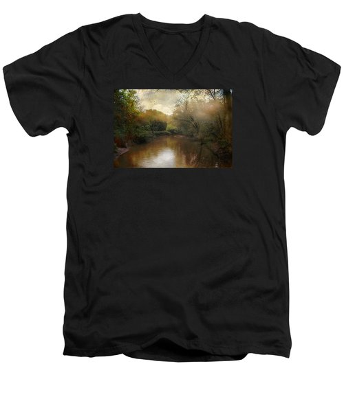 Men's V-Neck T-Shirt featuring the photograph Morning At The River by John Rivera