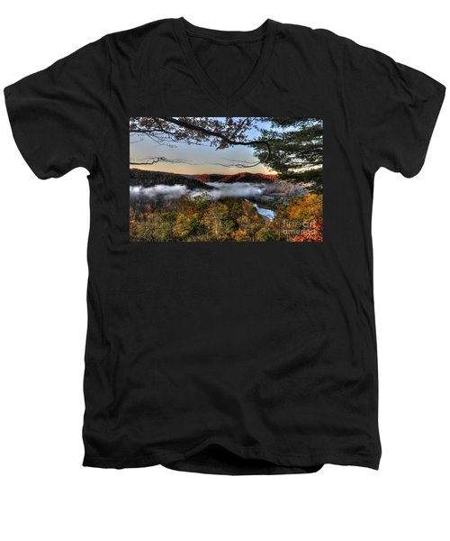 Morning Cheat River Valley Men's V-Neck T-Shirt by Dan Friend