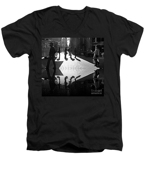 Men's V-Neck T-Shirt featuring the photograph Morning Coffee Line On The Streets Of New York City by Lilliana Mendez