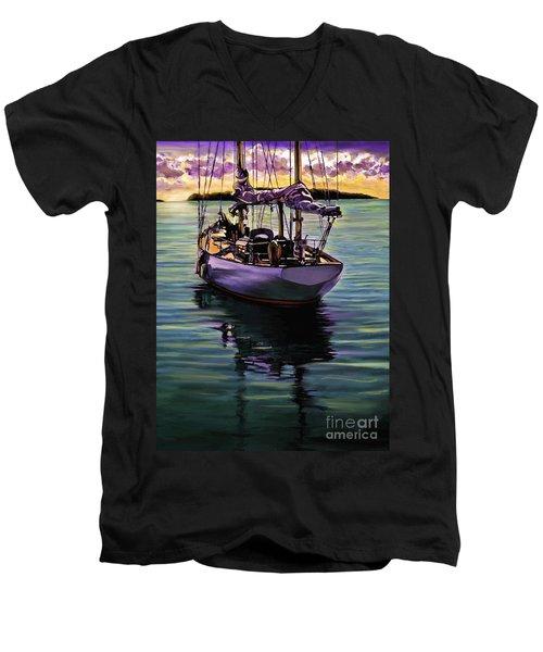 Men's V-Neck T-Shirt featuring the painting Morning Has Broken by David  Van Hulst
