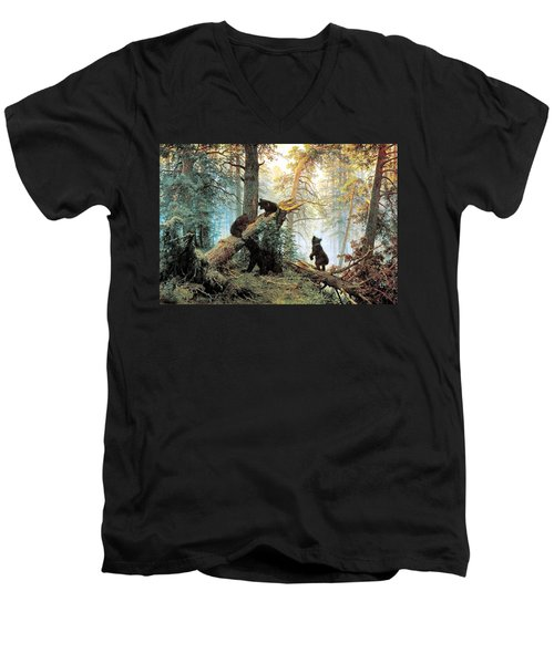 Morning In A Pine Forest Men's V-Neck T-Shirt
