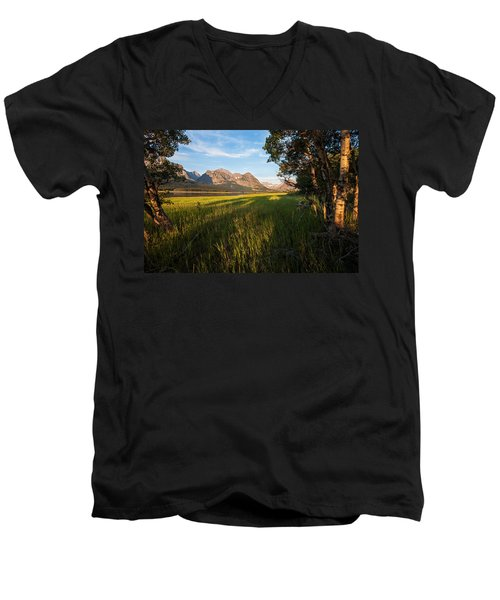 Men's V-Neck T-Shirt featuring the photograph Morning In The Mountains by Jack Bell