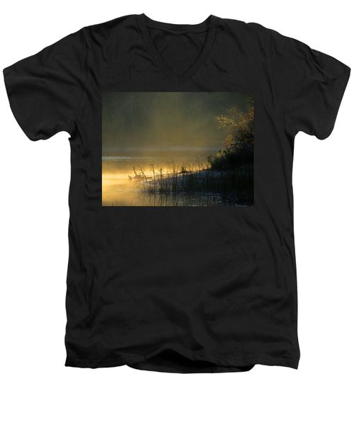 Men's V-Neck T-Shirt featuring the photograph Morning Mist by Dianne Cowen