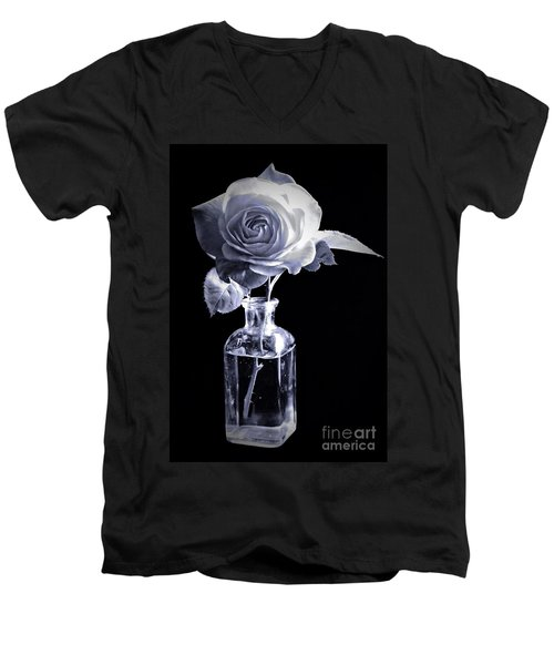 Morning Rose Cyan Men's V-Neck T-Shirt