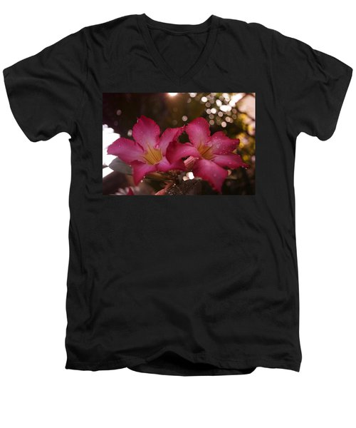 Men's V-Neck T-Shirt featuring the photograph Morning Sunshine And Rain by Miguel Winterpacht