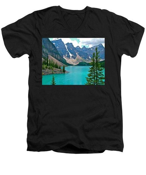 Morraine Lake In Banff Np-alberta Men's V-Neck T-Shirt